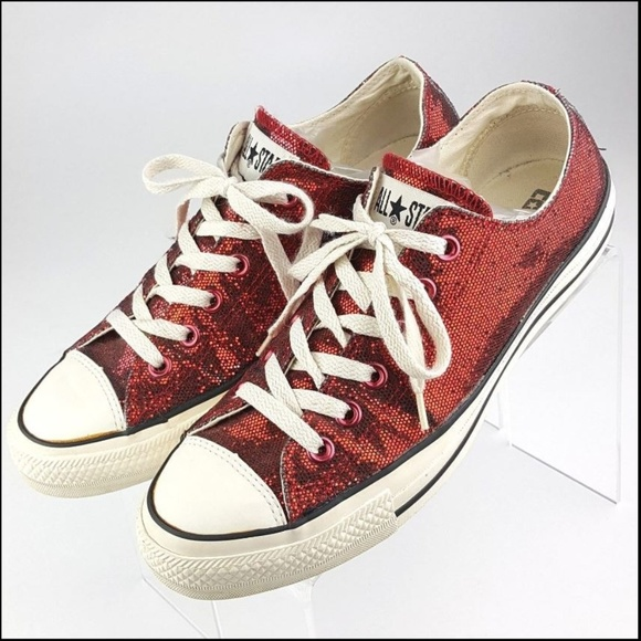 Converse Shoes - Converse All Star Red Glitter Chuck Taylor Lo 1d95487d9c